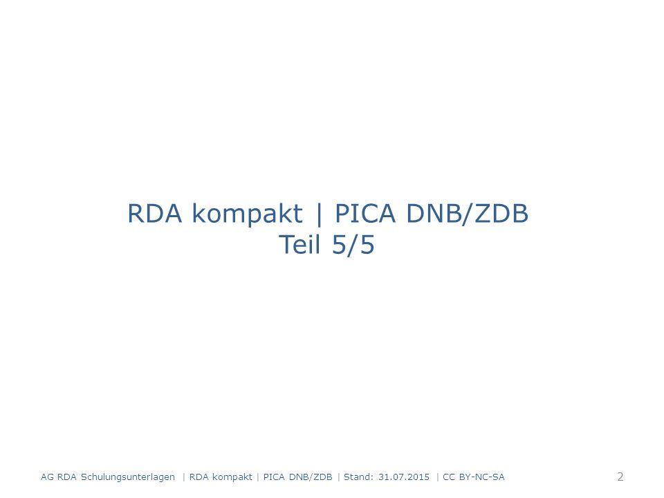 Vorbemerkung Änderungen in der Veröffentlichungsangabe: die bisherigen Inhalte werden aktualisiert früheste/frühere Angaben werden zusätzlich verzeichnet und gekennzeichnet Unterscheidung zwischen frühesten und früheren Veröffentlichungsangaben Früheste Veröffentlichungsangabe: der Beginn der Veröffentlichung ist bekannt wird immer erfasst die Geltungsdauer wird mit Erscheinungsdaten erfasst (RDA 2.8.6 D-A-C-H) 43 AG RDA Schulungsunterlagen | RDA kompakt | PICA DNB/ZDB | Stand: 31.07.2015 | CC BY-NC-SA