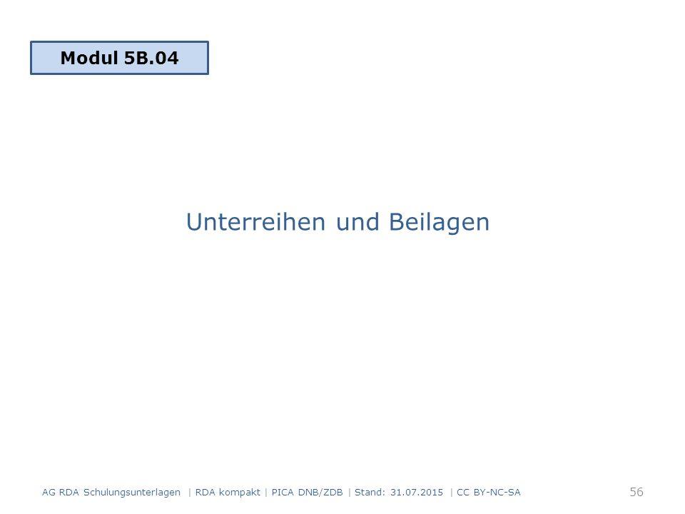 Unterreihen und Beilagen AG RDA Schulungsunterlagen | RDA kompakt | PICA DNB/ZDB | Stand: 31.07.2015 | CC BY-NC-SA 56 Modul 5B.04