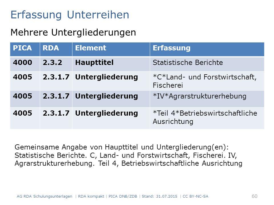 Erfassung Unterreihen Mehrere Untergliederungen 60 Gemeinsame Angabe von Haupttitel und Untergliederung(en): Statistische Berichte.