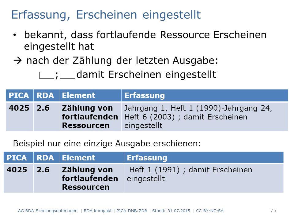 Erfassung, Erscheinen eingestellt bekannt, dass fortlaufende Ressource Erscheinen eingestellt hat  nach der Zählung der letzten Ausgabe: ; damit Erscheinen eingestellt Beispiel nur eine einzige Ausgabe erschienen: AG RDA Schulungsunterlagen | RDA kompakt | PICA DNB/ZDB | Stand: 31.07.2015 | CC BY-NC-SA 75 PICARDAElementErfassung 40252.6Zählung von fortlaufenden Ressourcen Jahrgang 1, Heft 1 (1990)-Jahrgang 24, Heft 6 (2003) ; damit Erscheinen eingestellt PICARDAElementErfassung 40252.6Zählung von fortlaufenden Ressourcen Heft 1 (1991) ; damit Erscheinen eingestellt
