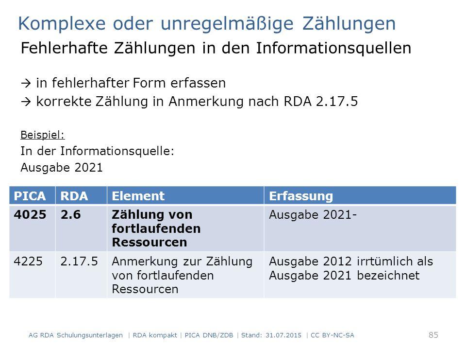 Komplexe oder unregelmäßige Zählungen Fehlerhafte Zählungen in den Informationsquellen  in fehlerhafter Form erfassen  korrekte Zählung in Anmerkung nach RDA 2.17.5 Beispiel: In der Informationsquelle: Ausgabe 2021 AG RDA Schulungsunterlagen | RDA kompakt | PICA DNB/ZDB | Stand: 31.07.2015 | CC BY-NC-SA 85 PICARDAElementErfassung 40252.6Zählung von fortlaufenden Ressourcen Ausgabe 2021- 42252.17.5Anmerkung zur Zählung von fortlaufenden Ressourcen Ausgabe 2012 irrtümlich als Ausgabe 2021 bezeichnet