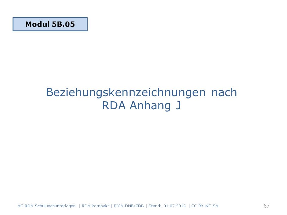 Beziehungskennzeichnungen nach RDA Anhang J AG RDA Schulungsunterlagen | RDA kompakt | PICA DNB/ZDB | Stand: 31.07.2015 | CC BY-NC-SA 87 Modul 5B.05