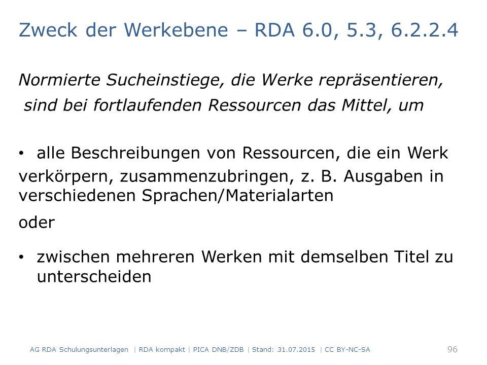 Zweck der Werkebene – RDA 6.0, 5.3, 6.2.2.4 Normierte Sucheinstiege, die Werke repräsentieren, sind bei fortlaufenden Ressourcen das Mittel, um alle Beschreibungen von Ressourcen, die ein Werk verkörpern, zusammenzubringen, z.