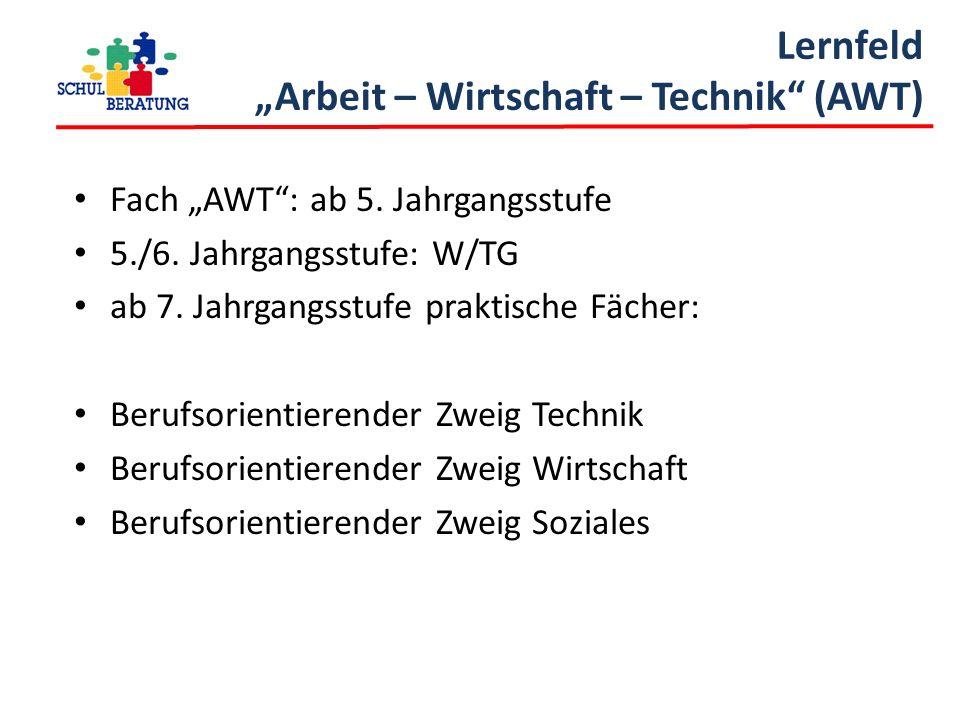 """Lernfeld """"Arbeit – Wirtschaft – Technik"""" (AWT) Fach """"AWT"""": ab 5. Jahrgangsstufe 5./6. Jahrgangsstufe: W/TG ab 7. Jahrgangsstufe praktische Fächer: Ber"""