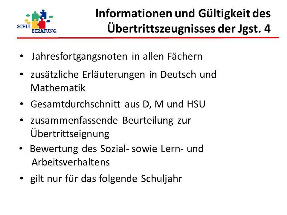 Informationen und Gültigkeit des Übertrittszeugnisses der Jgst. 4 Jahresfortgangsnoten in allen Fächern zusätzliche Erläuterungen in Deutsch und Mathe