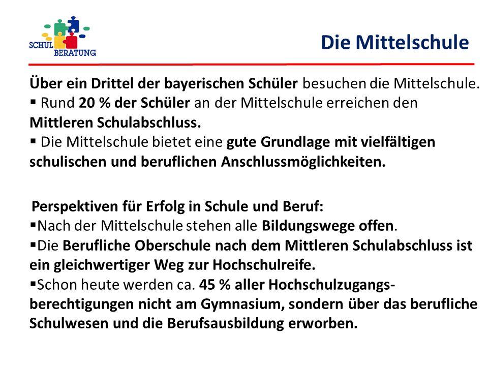 Die Mittelschule Über ein Drittel der bayerischen Schüler besuchen die Mittelschule.  Rund 20 % der Schüler an der Mittelschule erreichen den Mittler