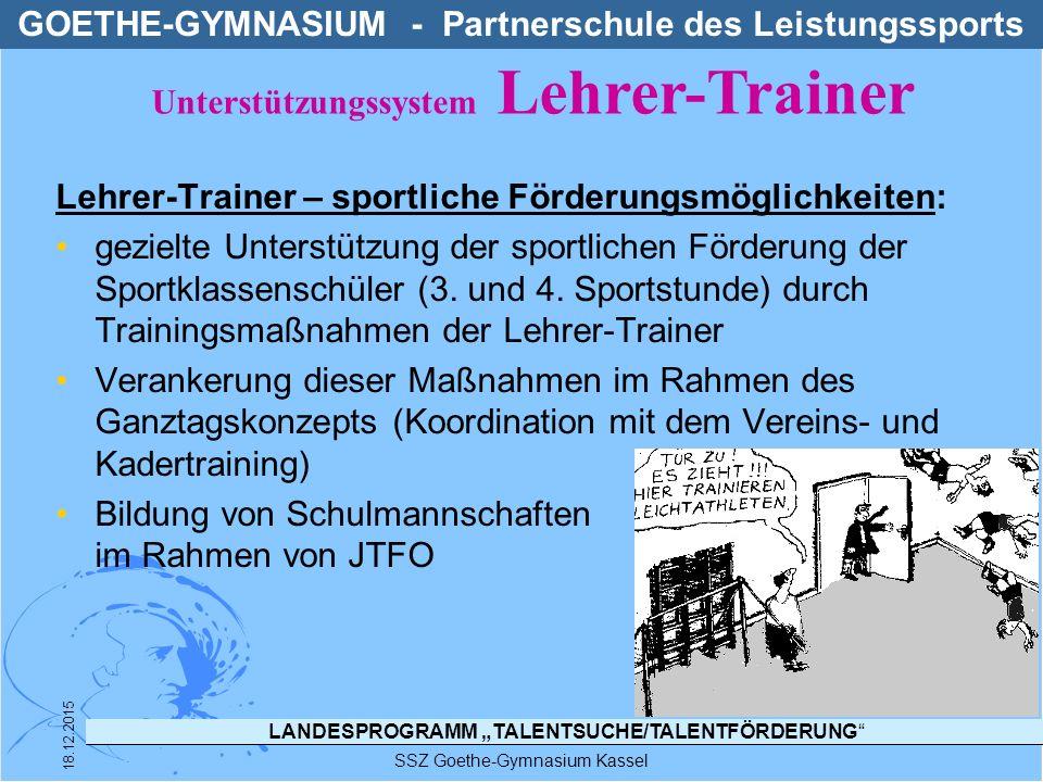 """LANDESPROGRAMM """"TALENTSUCHE/TALENTFÖRDERUNG"""" SSZ Goethe-Gymnasium Kassel 18.12.2015 Lehrer-Trainer – sportliche Förderungsmöglichkeiten: gezielte Unte"""