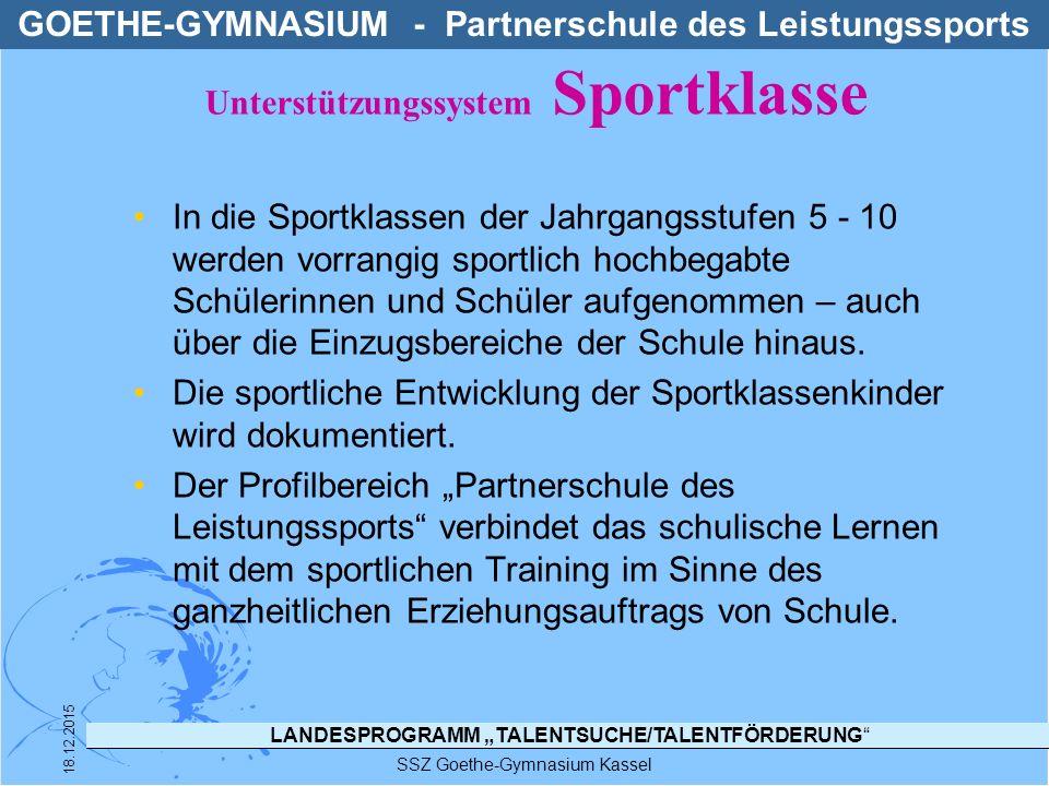 """LANDESPROGRAMM """"TALENTSUCHE/TALENTFÖRDERUNG"""" In die Sportklassen der Jahrgangsstufen 5 - 10 werden vorrangig sportlich hochbegabte Schülerinnen und Sc"""