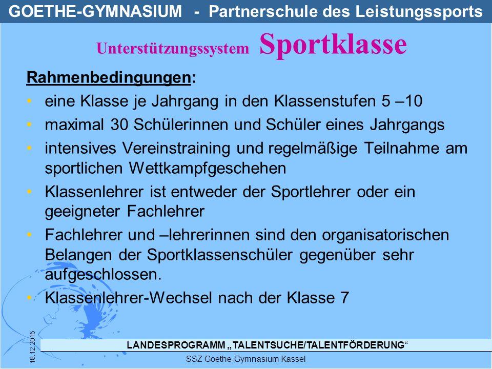 """LANDESPROGRAMM """"TALENTSUCHE/TALENTFÖRDERUNG"""" SSZ Goethe-Gymnasium Kassel 18.12.2015 Rahmenbedingungen: eine Klasse je Jahrgang in den Klassenstufen 5"""