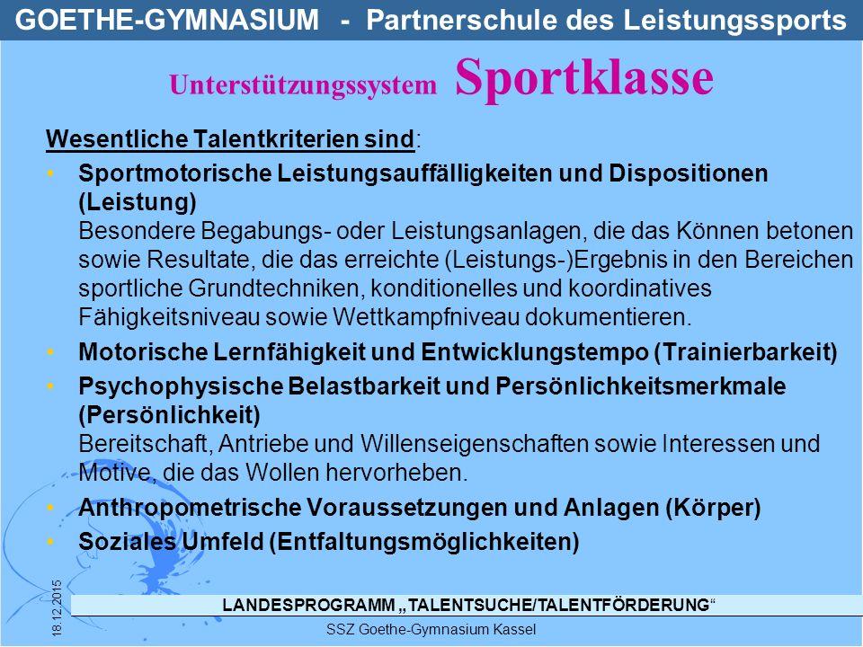"""LANDESPROGRAMM """"TALENTSUCHE/TALENTFÖRDERUNG"""" Wesentliche Talentkriterien sind: Sportmotorische Leistungsauffälligkeiten und Dispositionen (Leistung) B"""