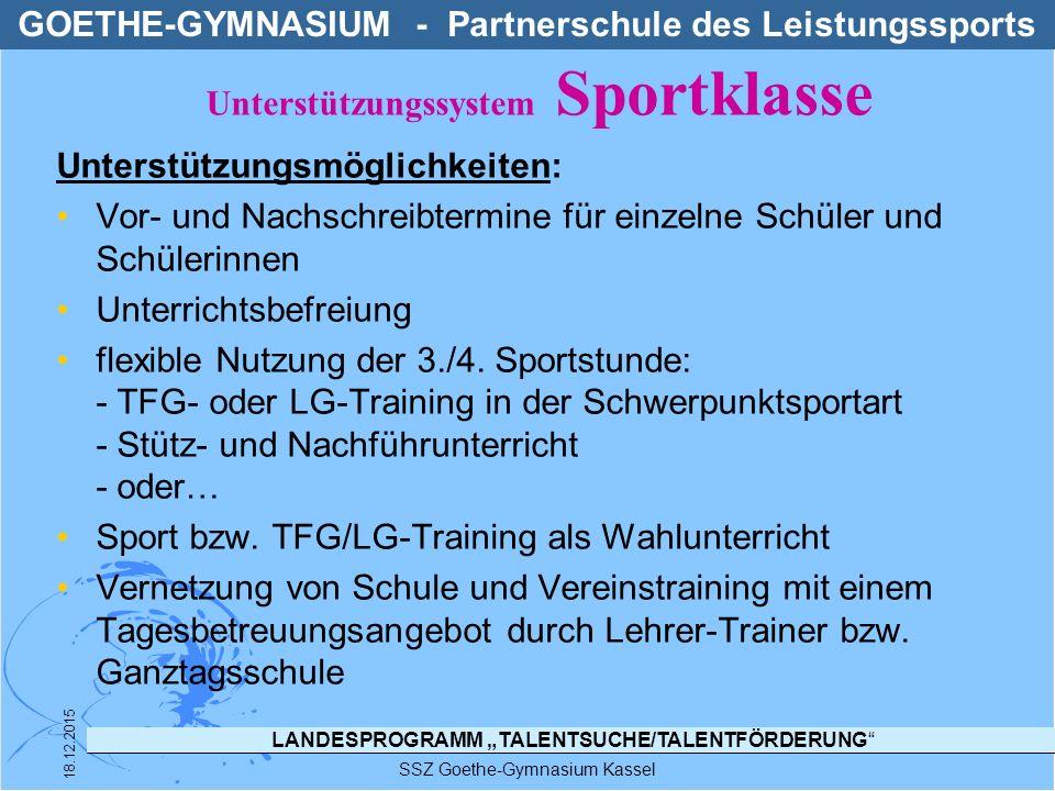"""LANDESPROGRAMM """"TALENTSUCHE/TALENTFÖRDERUNG"""" SSZ Goethe-Gymnasium Kassel 18.12.2015 Unterstützungsmöglichkeiten: Vor- und Nachschreibtermine für einze"""