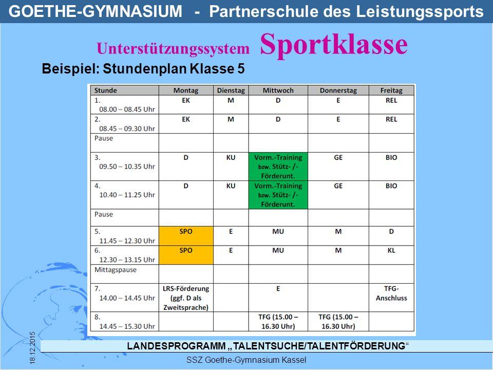 """LANDESPROGRAMM """"TALENTSUCHE/TALENTFÖRDERUNG"""" SSZ Goethe-Gymnasium Kassel 18.12.2015 GOETHE-GYMNASIUM - Partnerschule des Leistungssports Beispiel: Stu"""