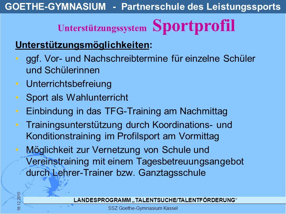 """LANDESPROGRAMM """"TALENTSUCHE/TALENTFÖRDERUNG"""" SSZ Goethe-Gymnasium Kassel 18.12.2015 Unterstützungsmöglichkeiten: ggf. Vor- und Nachschreibtermine für"""