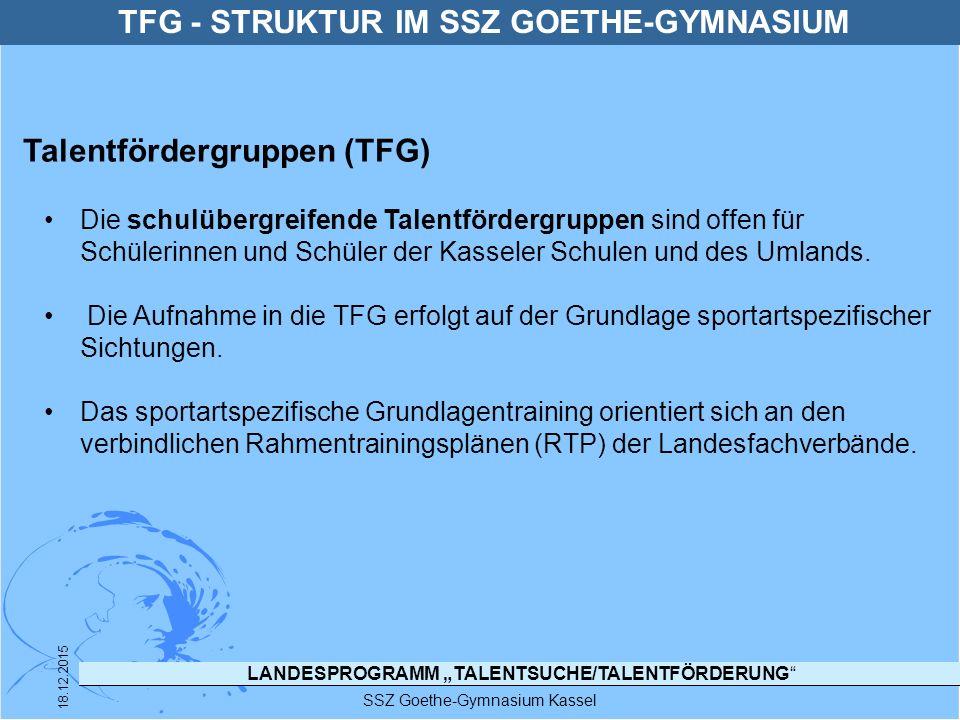 """LANDESPROGRAMM """"TALENTSUCHE/TALENTFÖRDERUNG"""" SSZ Goethe-Gymnasium Kassel 18.12.2015 Die schulübergreifende Talentfördergruppen sind offen für Schüleri"""