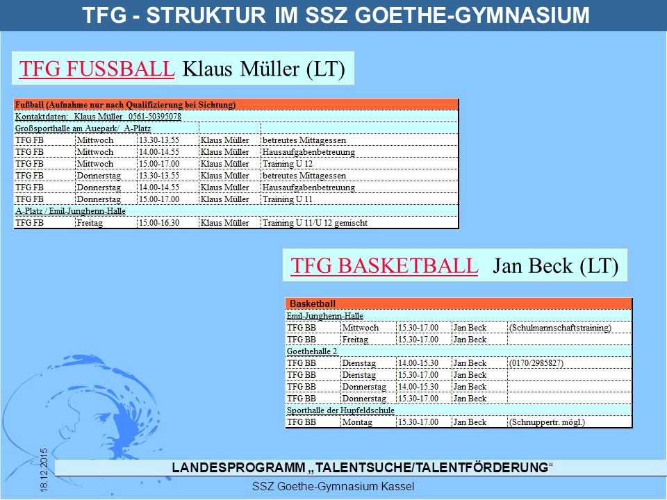 """LANDESPROGRAMM """"TALENTSUCHE/TALENTFÖRDERUNG"""" SSZ Goethe-Gymnasium Kassel 18.12.2015 TFG - STRUKTUR IM SSZ GOETHE-GYMNASIUM TFG FUSSBALLTFG FUSSBALL Kl"""