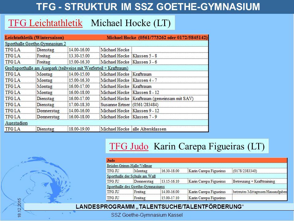 """LANDESPROGRAMM """"TALENTSUCHE/TALENTFÖRDERUNG"""" SSZ Goethe-Gymnasium Kassel 18.12.2015 TFG - STRUKTUR IM SSZ GOETHE-GYMNASIUM TFG TFG Leichtathletik Mich"""