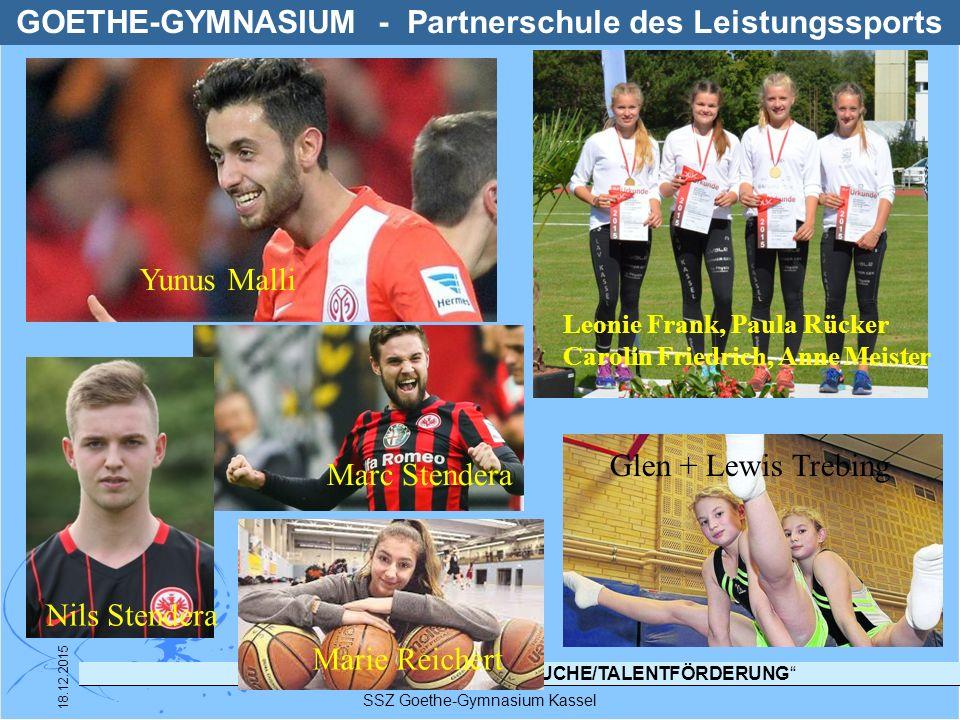 """LANDESPROGRAMM """"TALENTSUCHE/TALENTFÖRDERUNG"""" SSZ Goethe-Gymnasium Kassel 18.12.2015 GOETHE-GYMNASIUM - Partnerschule des Leistungssports Yunus Malli N"""