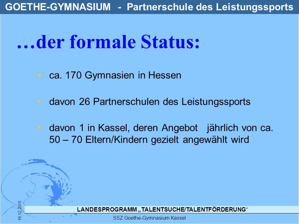 """LANDESPROGRAMM """"TALENTSUCHE/TALENTFÖRDERUNG"""" SSZ Goethe-Gymnasium Kassel 18.12.2015 ca. 170 Gymnasien in Hessen davon 26 Partnerschulen des Leistungss"""
