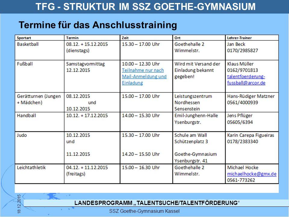 """LANDESPROGRAMM """"TALENTSUCHE/TALENTFÖRDERUNG"""" SSZ Goethe-Gymnasium Kassel 18.12.2015 TFG - STRUKTUR IM SSZ GOETHE-GYMNASIUM Termine für das Anschlusstr"""