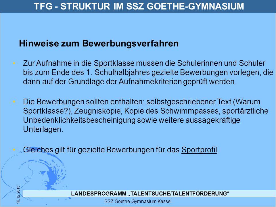 """LANDESPROGRAMM """"TALENTSUCHE/TALENTFÖRDERUNG"""" SSZ Goethe-Gymnasium Kassel 18.12.2015 Zur Aufnahme in die Sportklasse müssen die Schülerinnen und Schüle"""