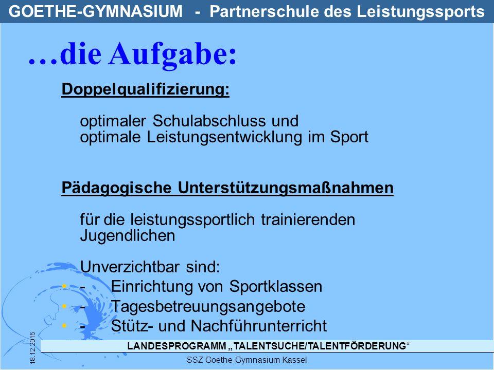 """LANDESPROGRAMM """"TALENTSUCHE/TALENTFÖRDERUNG"""" SSZ Goethe-Gymnasium Kassel 18.12.2015 Doppelqualifizierung: optimaler Schulabschluss und optimale Leistu"""