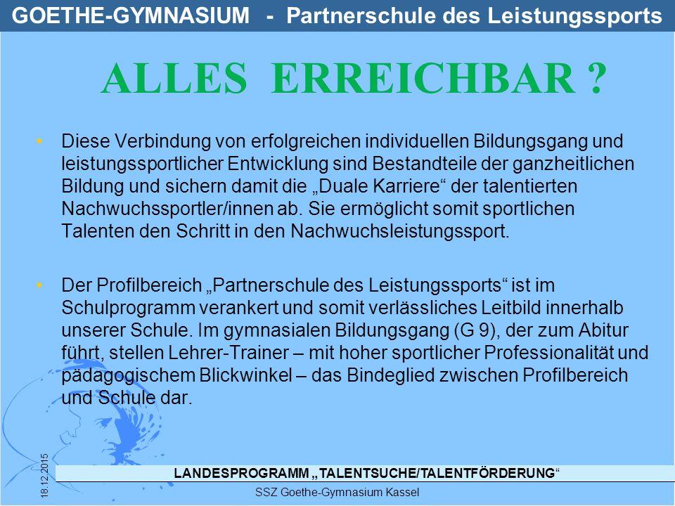 "LANDESPROGRAMM ""TALENTSUCHE/TALENTFÖRDERUNG SSZ Goethe-Gymnasium Kassel 18.12.2015 TFG - STRUKTUR IM SSZ GOETHE-GYMNASIUM TFG TFG Leichtathletik Michael Hocke (LT) TFGTFG Judo Karin Carepa Figueiras (LT)"