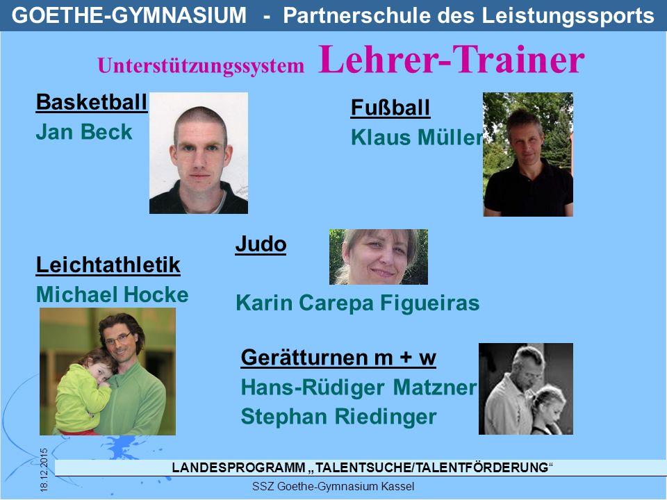 """LANDESPROGRAMM """"TALENTSUCHE/TALENTFÖRDERUNG SSZ Goethe-Gymnasium Kassel 18.12.2015 TFG - STRUKTUR IM SSZ GOETHE-GYMNASIUM TFG TFG Handball Thomas Damm (LT KS-Ld) TFGTFG Fechten Christine + Daniel von der Ahe TFGTFG Tennis Jutta Fahlbusch"""