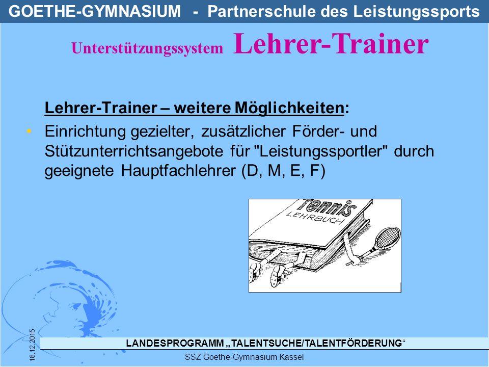 """LANDESPROGRAMM """"TALENTSUCHE/TALENTFÖRDERUNG"""" SSZ Goethe-Gymnasium Kassel 18.12.2015 Lehrer-Trainer – weitere Möglichkeiten: Einrichtung gezielter, zus"""