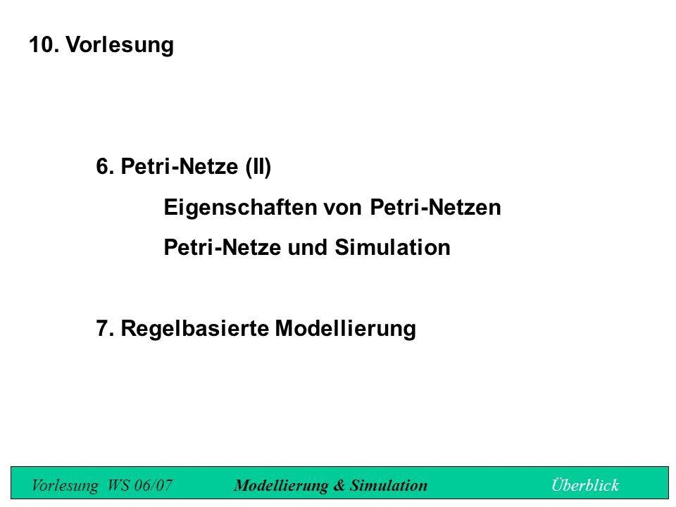 10. Vorlesung 6. Petri-Netze (II) Eigenschaften von Petri-Netzen Petri-Netze und Simulation 7.