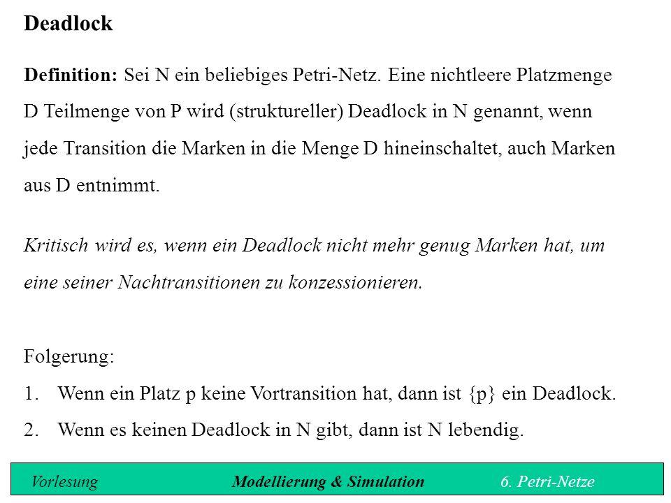 Deadlock Definition: Sei N ein beliebiges Petri-Netz.