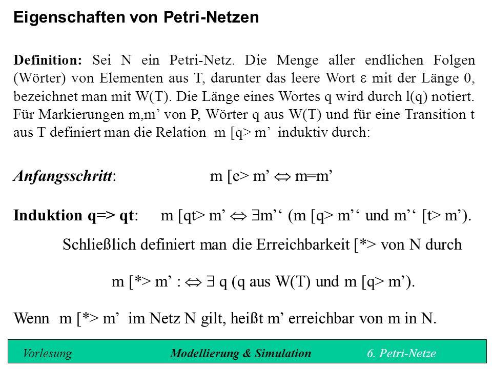 Eigenschaften von Petri-Netzen Definition: Sei N ein Petri-Netz.