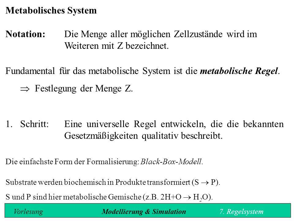 Metabolisches System Notation: Die Menge aller möglichen Zellzustände wird im Weiteren mit Z bezeichnet.
