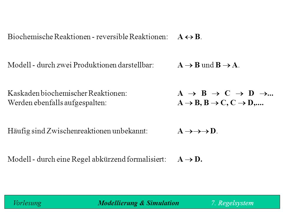 Biochemische Reaktionen - reversible Reaktionen:A  B.