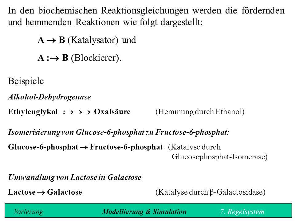 In den biochemischen Reaktionsgleichungen werden die fördernden und hemmenden Reaktionen wie folgt dargestellt: A  B (Katalysator) und A :  B (Blockierer).