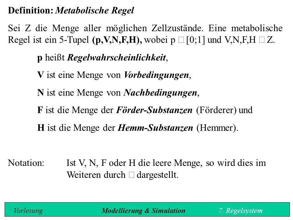 Definition: Metabolische Regel Sei Z die Menge aller möglichen Zellzustände.