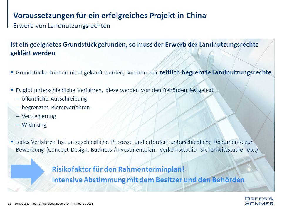 Erwerb von Landnutzungsrechten Drees & Sommer, erfolgreiches Bauprojekt in China, 12-201512 Voraussetzungen für ein erfolgreiches Projekt in China Ist