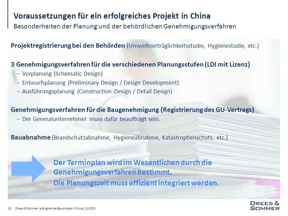 Drees & Sommer, erfolgreiches Bauprojekt in China, 12-201515 Voraussetzungen für ein erfolgreiches Projekt in China Besonderheiten der Planung und der