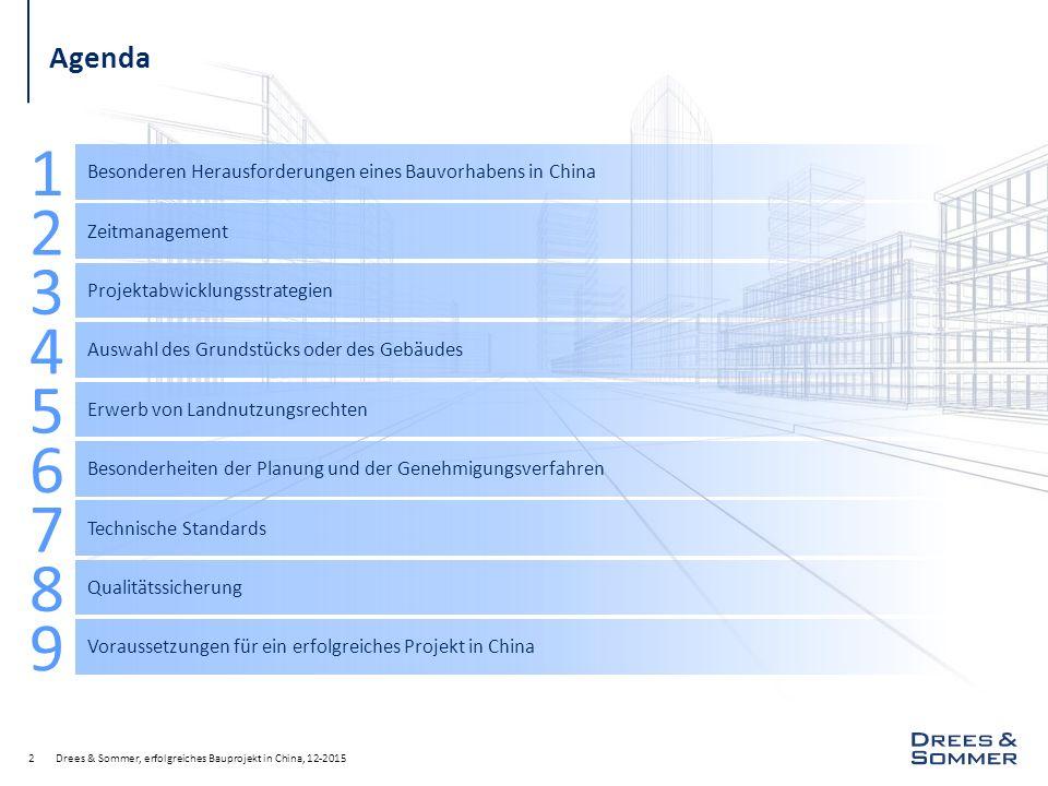 Drees & Sommer, erfolgreiches Bauprojekt in China, 12-20152 Agenda Besonderen Herausforderungen eines Bauvorhabens in China 1 Zeitmanagement 2 Projektabwicklungsstrategien 3 Auswahl des Grundstücks oder des Gebäudes 4 Erwerb von Landnutzungsrechten 5 Besonderheiten der Planung und der Genehmigungsverfahren 6 Technische Standards 7 Qualitätssicherung 8 Voraussetzungen für ein erfolgreiches Projekt in China 9