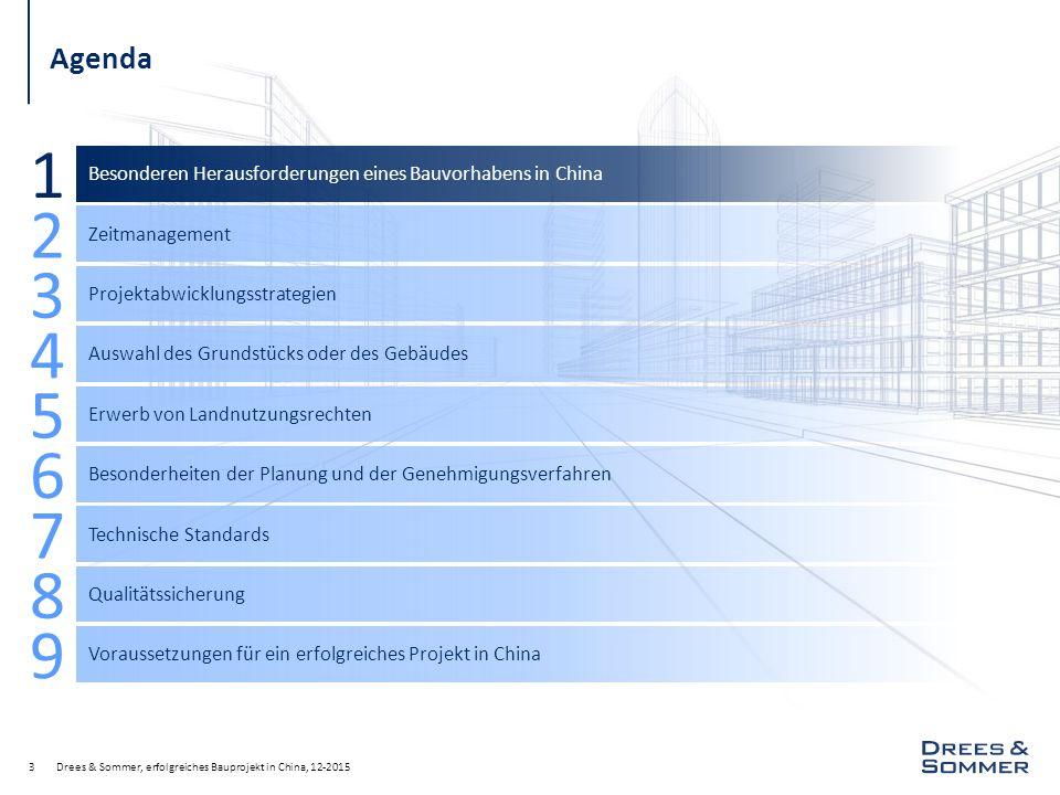 Drees & Sommer, erfolgreiches Bauprojekt in China, 12-20153 Agenda Besonderen Herausforderungen eines Bauvorhabens in China 1 Zeitmanagement 2 Projekt