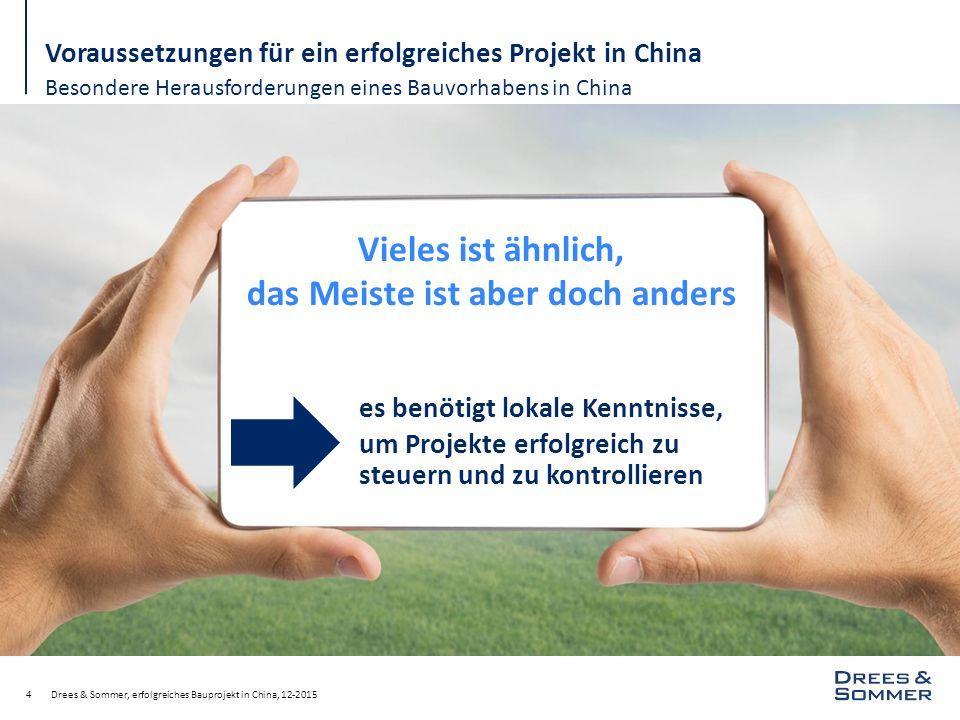 Drees & Sommer, erfolgreiches Bauprojekt in China, 12-201515 Voraussetzungen für ein erfolgreiches Projekt in China Besonderheiten der Planung und der behördlichen Genehmigungsverfahren Projektregistrierung bei den Behörden ( Umweltverträglichkeitsstudie, Hygienestudie, etc.) 3 Genehmigungsverfahren für die verschiedenen Planungsstufen (LDI mit Lizenz)  Vorplanung (Schematic Design)  Entwurfsplanung (Preliminary Design / Design Development)  Ausführungsplanung (Construction Design / Detail Design) Genehmigungsverfahren für die Baugenehmigung (Registrierung des GU-Vertrags)  Der Generalunternehmer muss dafür beauftragt sein.