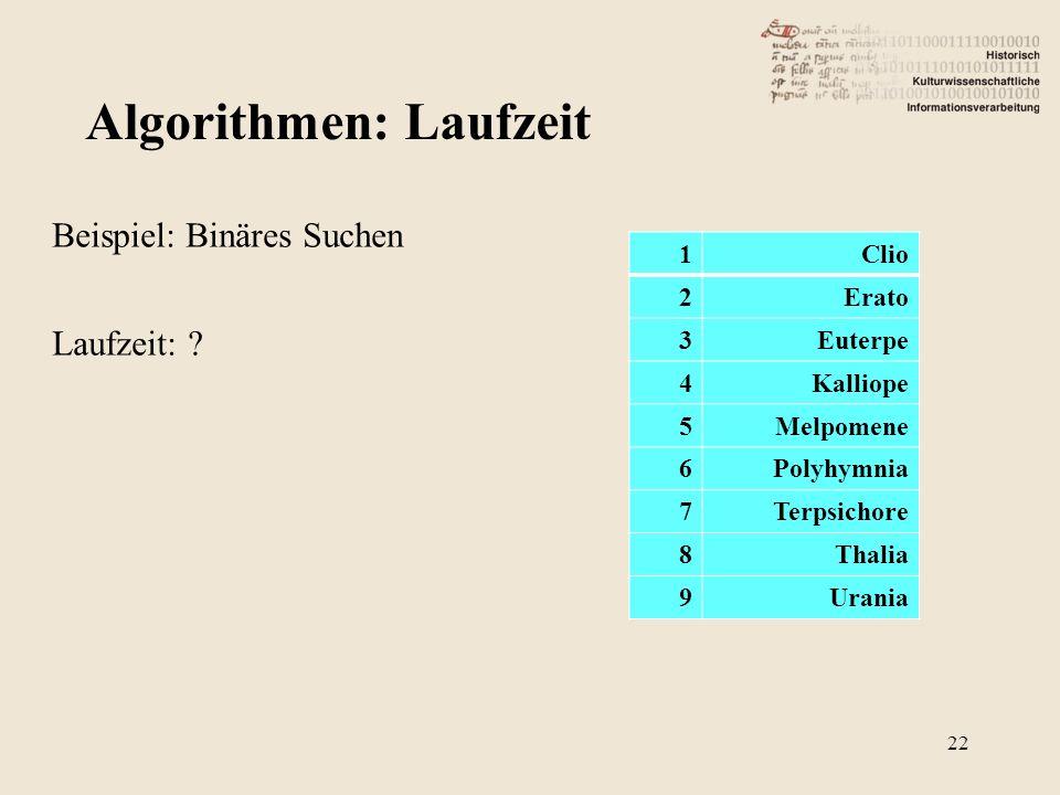 Beispiel: Binäres Suchen Laufzeit: ? Algorithmen: Laufzeit 1Clio 2Erato 3Euterpe 4Kalliope 5Melpomene 6Polyhymnia 7Terpsichore 8Thalia 9Urania 22