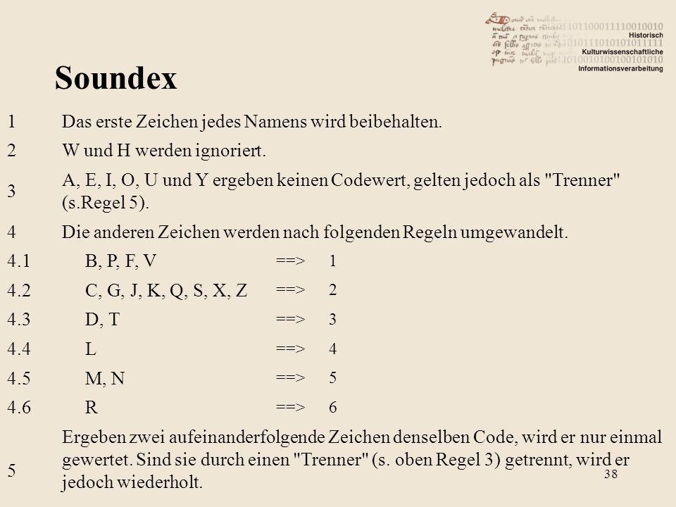 Soundex 1Das erste Zeichen jedes Namens wird beibehalten. 2W und H werden ignoriert. 3 A, E, I, O, U und Y ergeben keinen Codewert, gelten jedoch als
