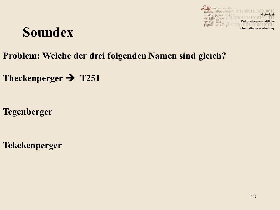 Soundex Problem: Welche der drei folgenden Namen sind gleich? Theckenperger  T251 Tegenberger Tekekenperger 48