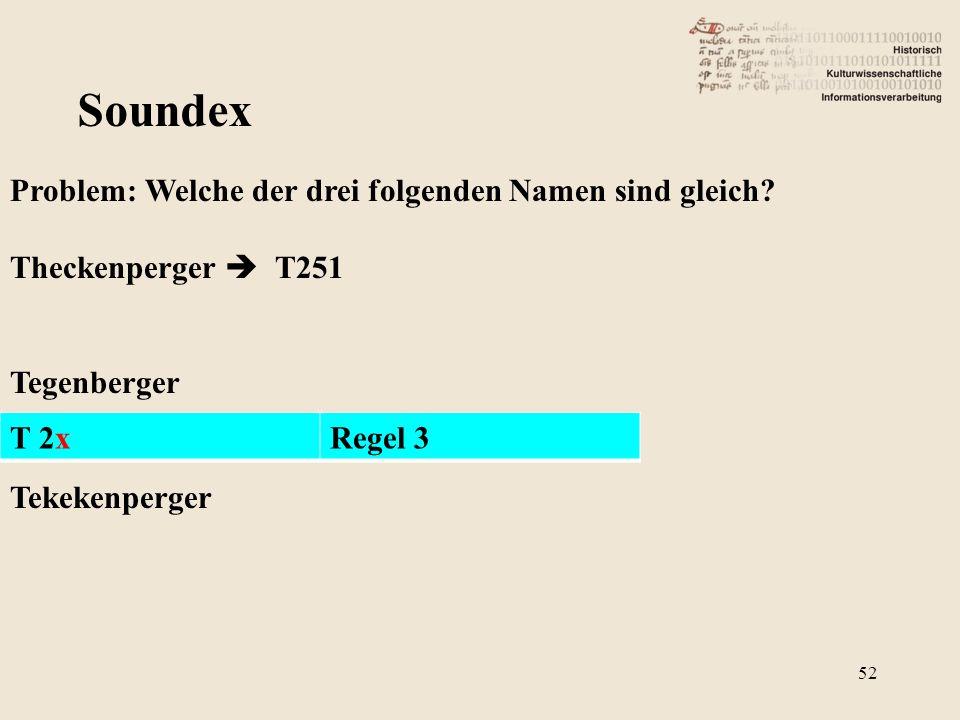 Soundex Problem: Welche der drei folgenden Namen sind gleich? Theckenperger  T251 Tegenberger Tekekenperger T 2xRegel 3 52