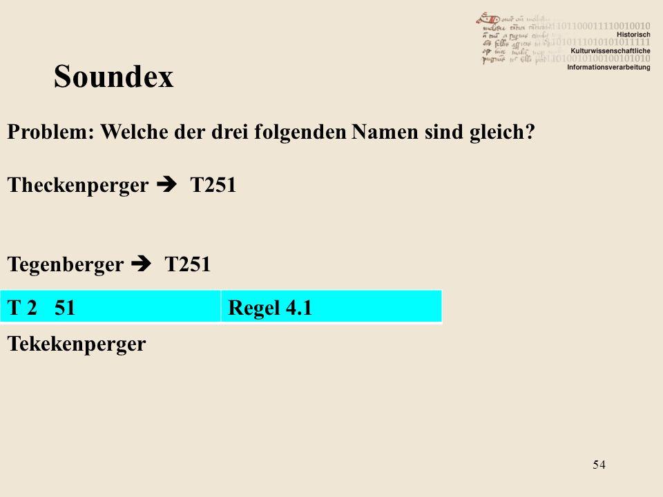 Soundex Problem: Welche der drei folgenden Namen sind gleich? Theckenperger  T251 Tegenberger  T251 Tekekenperger T 2 51Regel 4.1 54