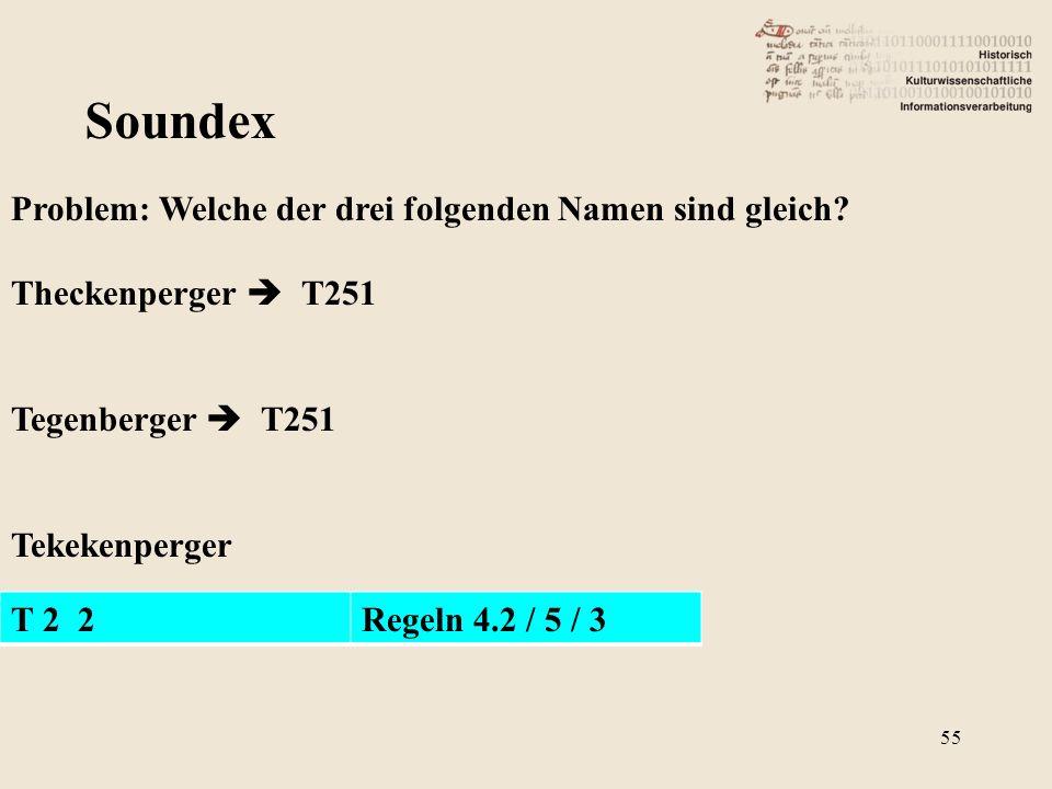 Soundex Problem: Welche der drei folgenden Namen sind gleich? Theckenperger  T251 Tegenberger  T251 Tekekenperger T 2 2Regeln 4.2 / 5 / 3 55