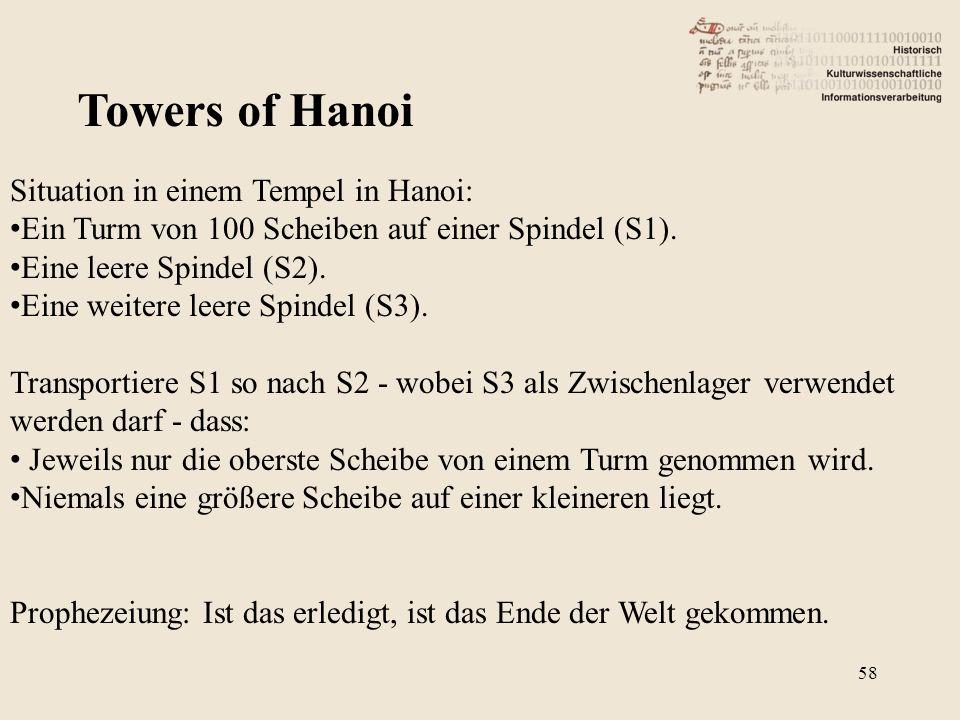 Towers of Hanoi Situation in einem Tempel in Hanoi: Ein Turm von 100 Scheiben auf einer Spindel (S1). Eine leere Spindel (S2). Eine weitere leere Spin