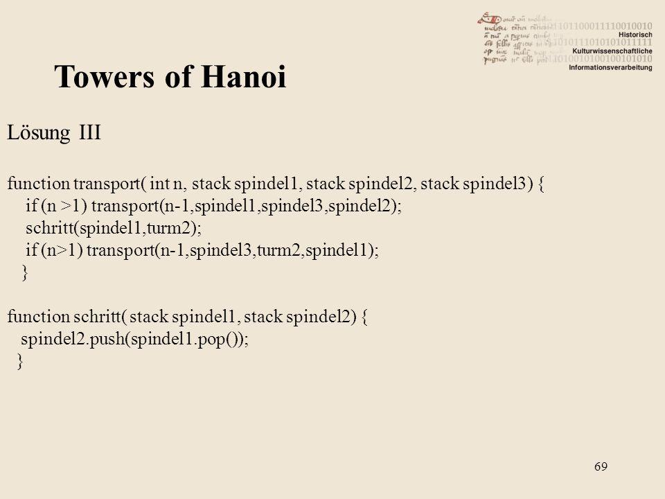 Towers of Hanoi Lösung III function transport( int n, stack spindel1, stack spindel2, stack spindel3) { if (n >1) transport(n-1,spindel1,spindel3,spin