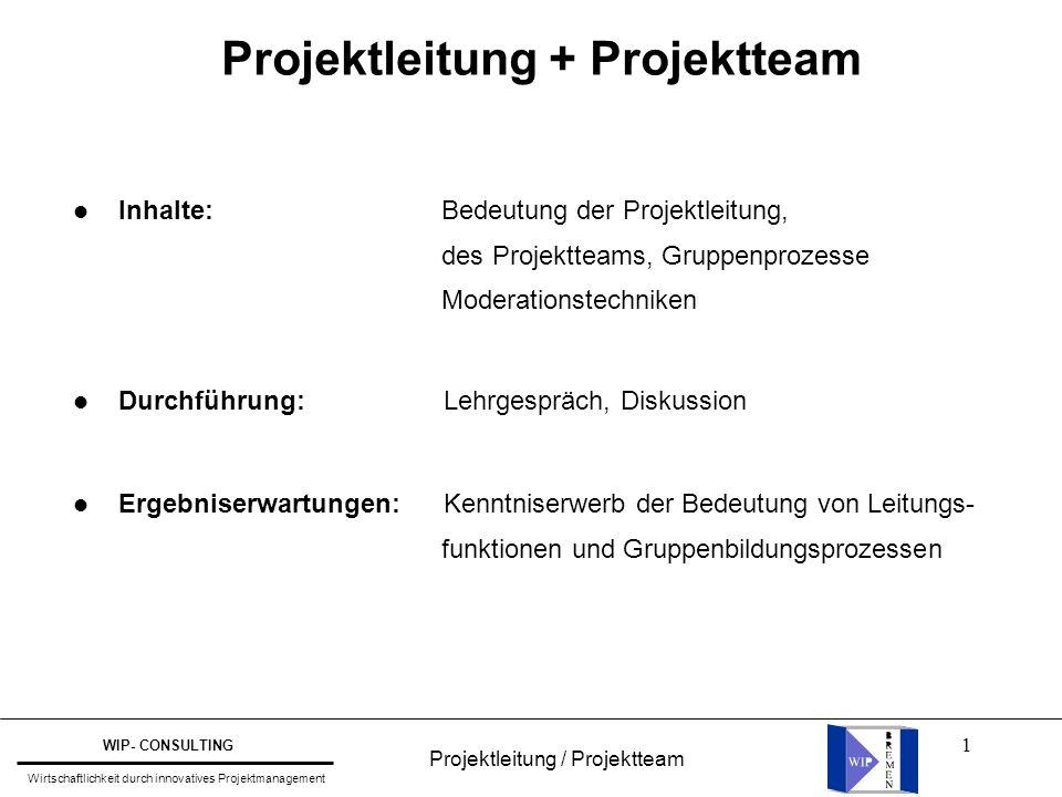 1 Projektleitung / Projektteam WIP- CONSULTING Wirtschaftlichkeit durch innovatives Projektmanagement l Inhalte: Bedeutung der Projektleitung, des Pro