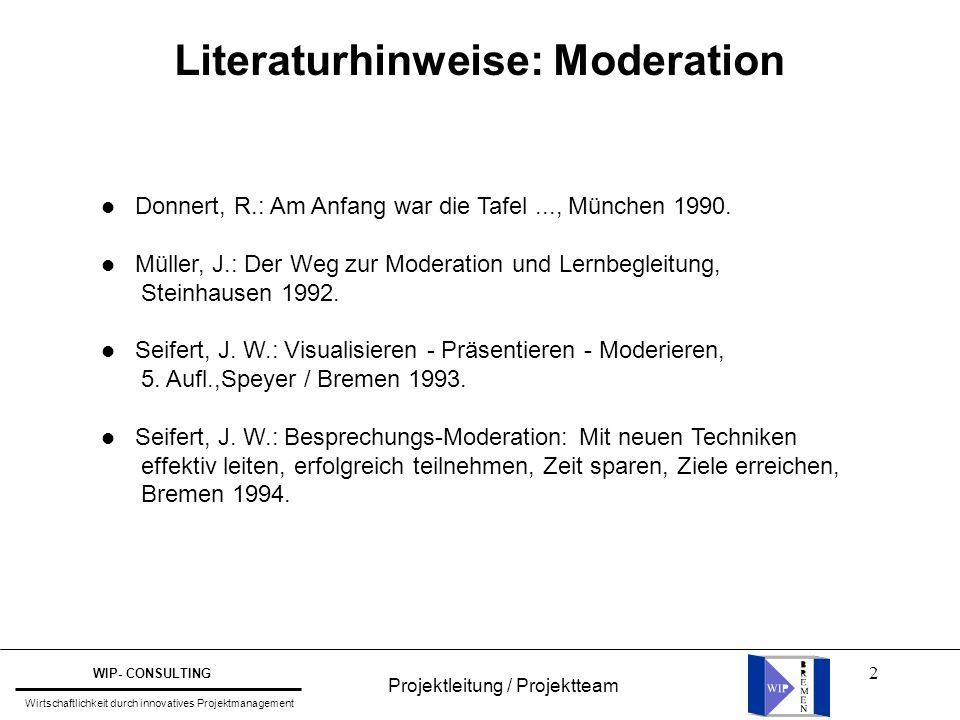 2 Projektleitung / Projektteam WIP- CONSULTING Wirtschaftlichkeit durch innovatives Projektmanagement l Donnert, R.: Am Anfang war die Tafel..., Münch